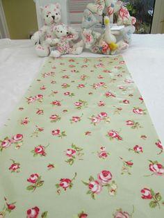 BN Very Pretty Clarke and Clarke Oilcloth In Sage Green Rosebud