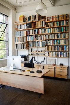 AS4 modular shelving system in maple and cold-rolled steel. Shown here as an office with storage drawers, LP cabinet and rack for audio equipment, and an extensive library. Each system is hand-made to order with dovetail jointery and solid metal construction. Made in Newburgh NY. Photo by Dana Gallagher Modular Furniture, Contemporary Furniture, Furniture Design, Steel Shelving, Modular Shelving, Maple Floors, Abandoned Factory, Custom Cabinetry, Design Firms