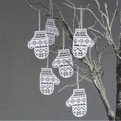 Papercut Mittens Christmas Tree Decorations
