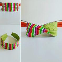 Linda tiara feita em tecido 100% algodão, dupla face, três em um. Três formas de usar.  http://www.elo7.com.br/288f6a