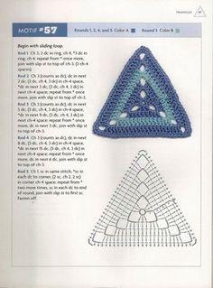 Diy Crafts - Pattern Square Triangle Granny Square Pattern - Knitting and Crochet Crochet Triangle Pattern, Crochet Square Patterns, Crochet Motifs, Crochet Mandala, Crochet Diagram, Crochet Stitches Patterns, Crochet Chart, Crochet Squares, Crochet Doilies