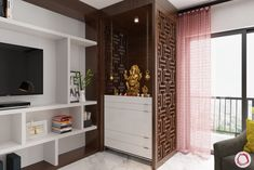 Now you can create stunning pooja room designs in apartments with limited space. Try out these small flat mandir design ideas that work in any home. Living Room Partition Design, Living Room Tv Unit Designs, Pooja Room Door Design, Room Partition Designs, Temple Design For Home, Indian Home Design, Small Balcony Design, Bathroom Design Small, Bathroom Designs