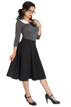 Rock Steady Clothing - Rock Steady Clothing - 50s High Waisted Thrills Skirt black swing