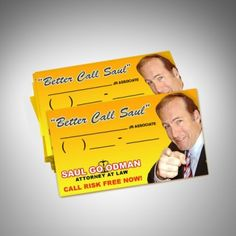 "Better Call Saul"" Business Cards http://www.breakingbadstore.com/better-call-saul-business-cards/details/28761346?cid=social-pinterest-m2social-product&current_country=AU&ref=share&utm_campaign=m2social&utm_content=product&utm_medium=social&utm_source=pinterest"