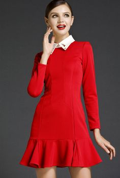Red Long Sleeve Rhinestone Lapel Ruffle Dress