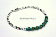 Turquoise Bracelet  Peridot Bracelet  by TwoFeathersJewelry, $51.95