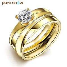 Romantic Cubic Zirconia Rings For Women Men Wedding Best Gifts Gold Color 316 Titanium Steel Ring Free Shipping #Affiliate