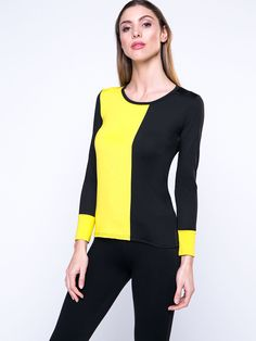 Color Block Courtlike Round Neck Long Sleeve T-Shirt