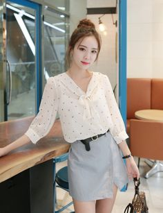 Flower pattern Bow Chiffon Blouse                                                                                                                                                                                 More