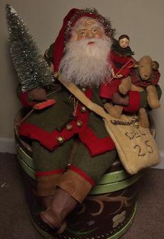 Handmade Sitting Santa Claus ~Doll & Teddy Bear By Kim Sweet~Kim's Klaus~All Vintage Wools...OoaK Vintage Antique Christmas Folk Art Doll
