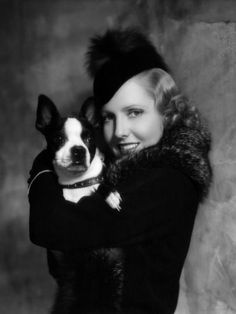 Jean Arthur, American actress and a major film star of the 1930s and 1940s, and her adorable Boston Terrier
