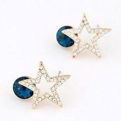 Wonderful Navy Blue Diamond Decorated Star Shape Design Alloy Stud Earrings  www.asujewelry.com