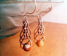 Wire Wrapped Earrings Copper and FireCrackle Agate by GearsFactory, €25.00
