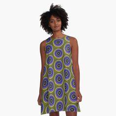 Cute Geometric Pattern in Turquoise Blue, Mustard Yellow, and Orange on White' A-Line Dress by kierkegaard Circle Pattern, Green Pattern, Mandala Pattern, Ramadan, Vestidos Retro, White A Line Dress, Ethnic Patterns, Geometric Patterns, Mom Dress