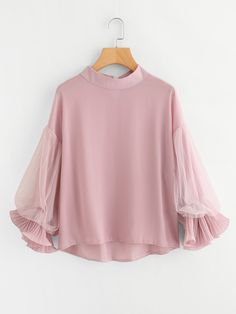 SheIn offers Dip Hem Lace Panel Blouse & more to fit your fashionable needs. Look Fashion, Hijab Fashion, Korean Fashion, Fashion Dresses, Skirt Fashion, Blouse Styles, Blouse Designs, Hijab Stile, Blouse Online