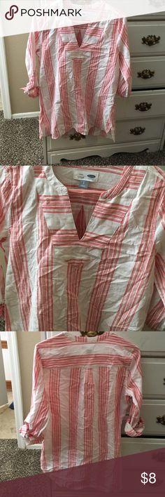 Pink and white tunic top Size small. Old Navy. Pink and white with deep v neck. Cuffed and buttoned on arms. Low in back, higher in front. Linen/cotton blend. Never worn. Old Navy Tops Tunics