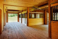 The barn is fully equipped for horses with six spacious, well-ventilated stalls.