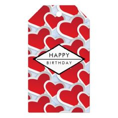 2 Red Hearts Repeating Pattern Cute Birthday Gift Tags - pattern sample design template diy cyo customize