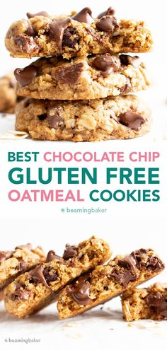 The BEST Gluten Free Oatmeal Chocolate Chip Cookies are crispy on the outside, perfectly chewy 'n soft on the inside, and packed with cozy oatmeal & rich chocolate chip flavor. #GlutenFree #OatmealChocolateChipCookies #OatmealCookies #GFCookies   Recipe at BeamingBaker.com Basic Butter Cookies Recipe, Oatmeal Chocolate Chip Cookie Recipe, Gluten Free Sugar Cookies, Vegan Gluten Free Desserts, Gluten Free Peanut Butter, Gluten Free Oatmeal, Gluten Free Chocolate Chip Cookies, Foods With Gluten, Gluten Free Baking
