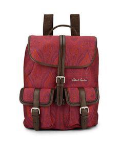 "Robert Graham Men's NWT ""Stellen"" Leather & Paisely Fabric Backpack Retail $298. #RobertGraham #Backpack"