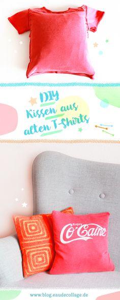DIY / KISSEN AUS ALTEN T-SHIRTS // DIY-Kissen aus alten Lieblingsshirts ganz einfach selbermachen. Upcyceln statt wegwerfen! #diy #kissen #tshirt #shirtkissen #upcycling #cushion #kissenbezug