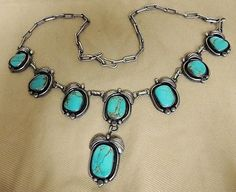 Stunning-Navajo-DON-CHEE-Signed-Necklace-85-Grams-Natural-Turquoise-Hand-Made