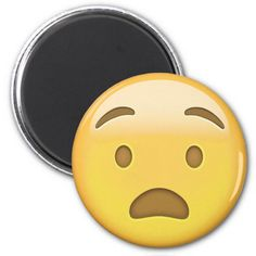 Anguished Face Emoji Fridge Magnet