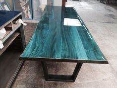 Intense blue on elm tabletop Designed and produced by ccoating netherlands…