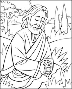 Bible coloring page illustrating Jesus praying in the Garden of Gethsemane. Jesus Coloring Pages, Easter Coloring Pages, Coloring Book, Colouring, Bible Story Crafts, Bible School Crafts, Sunday School Projects, Sunday School Lessons, Sunday School Coloring Pages