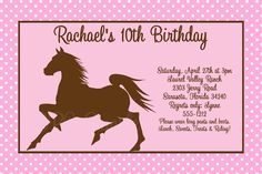 Horse Birthday Invitations Free Printable 4