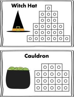Here is a fun Halloween themed math center to use during the month of October!  Students will select a card, and use snap cubes to replicate the picture on the card.  Then they can count the number of cubes used to make the shape and record it on their recording sheet!