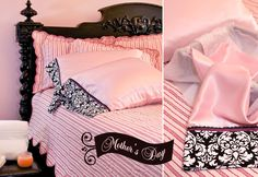 Satin Pillowcases with velvet & lace trim