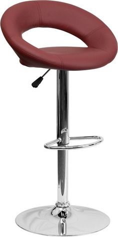 Flash Furniture Contemporary Burgundy Vinyl Rounded Back Adjustable Height Barstool with Chrome Base
