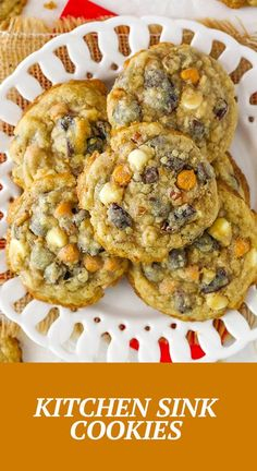 These Kitchen Sink Cookies are the best of all the cookie worlds! They have a lovely light caramelized flavor to them and are full of all my favorite mix-ins! Oatmeal Cookie Recipes, Best Cookie Recipes, Kitchen Sink Cookies Recipe, Kinds Of Cookies, Toffee, Caramel, Sticky Toffee, Sticky Toffee, Candy