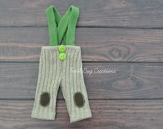Newborn Photography Pants  Upcycled Brown Ribbed Pants with Green Suspenders by ToodleBugCreations, $23.00