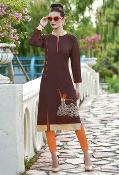 f114349c6d Readymade Brown Khadi Cotton Casual Kurti #embroidery #embroideredkurti  #kurtionline #onlinekurti #dress. Nikvik