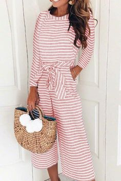 6029fac97d Round Neck Striped Long Sleeve Jumpsuits