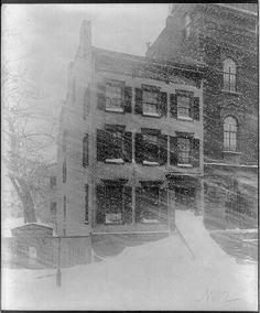 New York City house in blizzard. Winter 1888