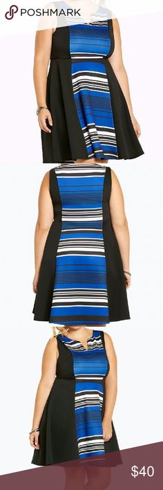 """Blue Stripe Scuba Skater Dress Sz 4 BRAND NEW W/TAGS Torrid brand Blue Stripe Scuba Skater Dress Sz 4.  Blue Black stripes block off the front and back center panels on this stretchy and sheeny scuba dress. Black side panels create a figure flattering illusion for the fit and flare skater style.  -Model is 5?10?, size 1 -Size 1 measures 41"""" from shoulder -Polyester/spandex -Wash cold, line dry -Imported  MEASUREMENTS: Pit to Pit: 25""""+ Waist: 24""""+ Total Length: 40.5"""" Torrid Dresses Midi"""