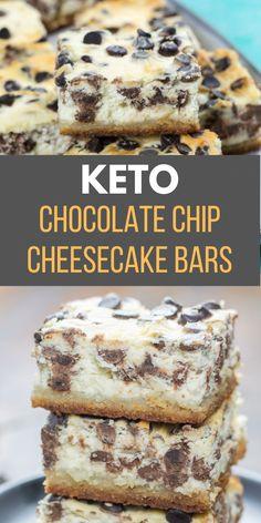 #KetoRecipes Chocolate Chip Cheesecake Bars, Keto Chocolate Chips, Keto Cheesecake, Chocolate Food, Pumpkin Cheesecake, Low Calorie Cheesecake, Diabetic Chocolate, Low Calorie Chocolate, Turtle Cheesecake Recipes