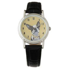Boston Terrier Wristwatch - drawing sketch design graphic draw personalize