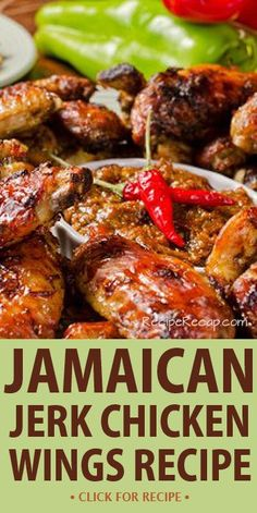 This Jamaican inspired Jerk Chicken Wings Recipe is the perfect combination of heat and sweet to hit your taste buds in all the right places. Jamaican Dishes, Jamaican Recipes, Jamaican Appetizers, Jamaican Cuisine, Appetizer Recipes, Meat Recipes, Cooking Recipes, Smoker Recipes, Dinner Recipes