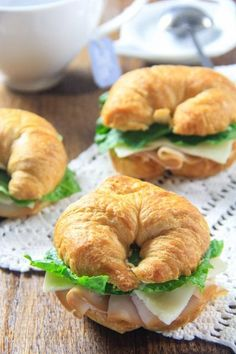 Turkey Croissant Sandwich - Simple, Fresh Lunch - Simply Home Cooked, Croissant Sandwich, Cheese Croissant, Party Sandwiches, Turkey Sandwiches, Wrap Sandwiches, Finger Sandwiches, Churros, Homemade Croissants, Charcuterie Recipes