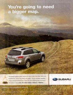 car ads in magazines | 2010 Subaru Outback magazinead, June 2010