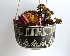 A R T D E C O tribal ceramic hanging planter by mbundy on Etsy
