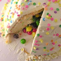 Candy Surprise Cake .... cut the cake and watch their smiles!