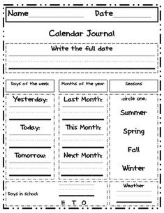 DAILY/WEEKLY CALENDAR JOURNAL PAGE - TeachersPayTeachers.com