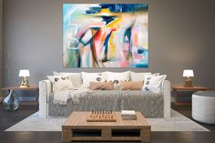 Items similar to Large Modern Wall Art Painting,Large Abstract wall art,texture art painting,colorful abstract,office wall art on Etsy Large Abstract Wall Art, Colorful Wall Art, Modern Wall Art, Oversized Wall Decor, Oversized Canvas Art, Bright Paintings, Unique Paintings, Abstract Paintings, Bedroom Paintings