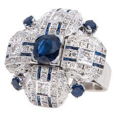 @rubylanecom Large 18k White Gold Diamond & Sapphire Ring