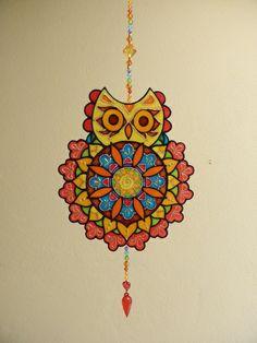 Mandala Coruja em PVC, técnica de pintura vitral